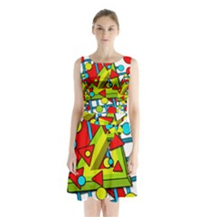 Crazy Geometric Art Sleeveless Chiffon Waist Tie Dress by Valentinaart