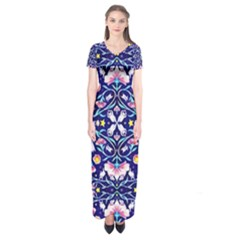 Flora Cosmica Short Sleeve Maxi Dress by miranema