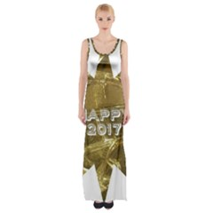 Happy New Year 2017 Gold White Star Maxi Thigh Split Dress by yoursparklingshop