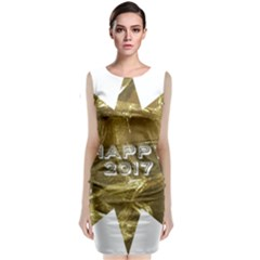 Happy New Year 2017 Gold White Star Classic Sleeveless Midi Dress by yoursparklingshop