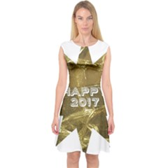 Happy New Year 2017 Gold White Star Capsleeve Midi Dress by yoursparklingshop
