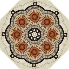 Ancient Aztec Sun Calendar 1790 Vintage Drawing Hook Handle Umbrellas (medium) by yoursparklingshop