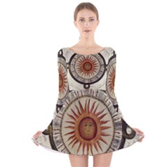 Ancient Aztec Sun Calendar 1790 Vintage Drawing Long Sleeve Velvet Skater Dress