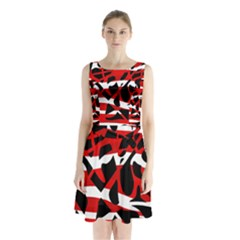 Red Chaos Sleeveless Chiffon Waist Tie Dress by Valentinaart
