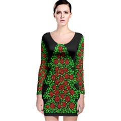 Sparkling Christmas Tree Long Sleeve Velvet Bodycon Dress by Valentinaart