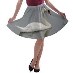 Swimming White Swan A Line Skater Skirt by picsaspassion