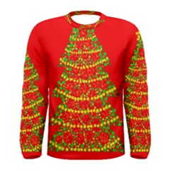 Sparkling Christmas Tree   Red Men s Long Sleeve Tee by Valentinaart