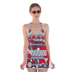 Gray And Red Geometrical Design Halter Swimsuit Dress by Valentinaart