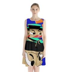 Accident  Sleeveless Chiffon Waist Tie Dress by Valentinaart