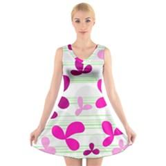Magenta Floral Pattern V Neck Sleeveless Skater Dress by Valentinaart