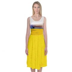 Yellow Scene Midi Sleeveless Dress by Contest2483978