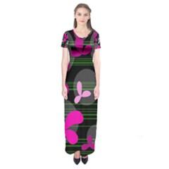 Magenta Floral Design Short Sleeve Maxi Dress by Valentinaart