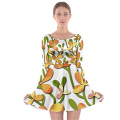 Decorative Floral Tree Long Sleeve Skater Dress by Valentinaart