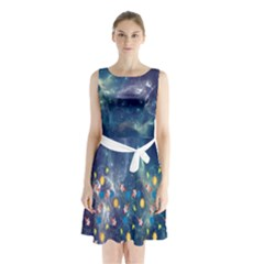Galaxy Sleeveless Chiffon Waist Tie Dress