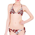 Cvdr0098 Red White Black Flowers Bikini Set