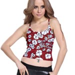 Cvdr0098 Red White Black Flowers Spaghetti Strap Bra Top