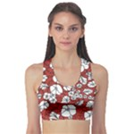 Cvdr0098 Red White Black Flowers Sports Bra