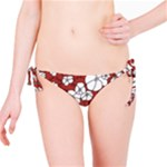 Cvdr0098 Red White Black Flowers Bikini Bottom