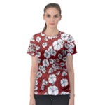 Cvdr0098 Red White Black Flowers Women s Sport Mesh Tee
