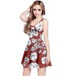 Cvdr0098 Red White Black Flowers Reversible Sleeveless Dress
