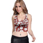 Cvdr0098 Red White Black Flowers Racer Back Crop Top