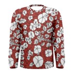 Cvdr0098 Red White Black Flowers Men s Long Sleeve Tee