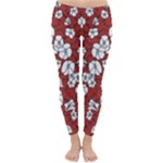 Cvdr0098 Red White Black Flowers Winter Leggings