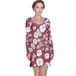 Cvdr0098 Red White Black Flowers Long Sleeve Nightdress
