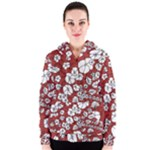 Cvdr0098 Red White Black Flowers Women s Zipper Hoodie