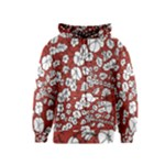 Cvdr0098 Red White Black Flowers Kids  Zipper Hoodie