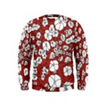 Cvdr0098 Red White Black Flowers Kids  Sweatshirt