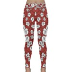 Cvdr0098 Red White Black Flowers Yoga Leggings