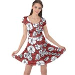 Cvdr0098 Red White Black Flowers Cap Sleeve Dresses