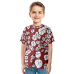 Cvdr0098 Red White Black Flowers Kids  Sport Mesh Tee