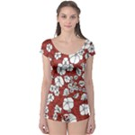 Cvdr0098 Red White Black Flowers Boyleg Leotard
