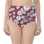Cvdr0098 Red White Black Flowers High-Waist Bikini Bottoms