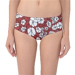 Cvdr0098 Red White Black Flowers Mid-Waist Bikini Bottoms