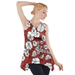 Cvdr0098 Red White Black Flowers Side Drop Tank Tunic