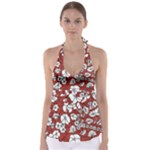 Cvdr0098 Red White Black Flowers Babydoll Tankini Top