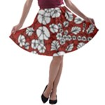 Cvdr0098 Red White Black Flowers A-line Skater Skirt