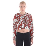 Cvdr0098 Red White Black Flowers Women s Cropped Sweatshirt
