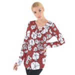 Cvdr0098 Red White Black Flowers Women s Tie Up Tee