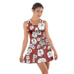 Cvdr0098 Red White Black Flowers Cotton Racerback Dress