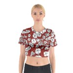 Cvdr0098 Red White Black Flowers Cotton Crop Top