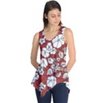 Cvdr0098 Red White Black Flowers Sleeveless Tunic