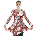 Cvdr0098 Red White Black Flowers Long Sleeve Tunic
