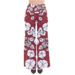 CVDr0098 Red White Black Flowers Women s Chic Palazzo Pants