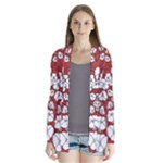 CVDr0098 Red White Black Tangle Floral flip Drape Collar Cardigan