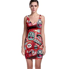 Agghh Pattern Sleeveless Bodycon Dress by AnjaniArt