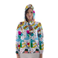 Colorful Cartoon Funny People Hooded Wind Breaker (women)